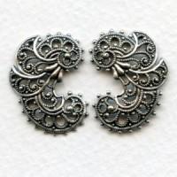 Elegant German Made Filigree Flourishes Oxidized Silver (2)