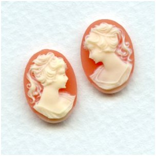 Cameos Girl in a Ponytail 18x13mm Ivory on Carnelian (3R-3L)