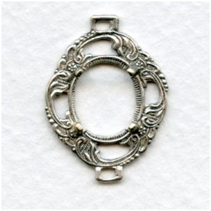 Delicate Openwork 12x10mm Setting Connector Oxidized Silver (1)