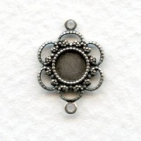 Filigree Connector 5mm Settings Oxidized Silver (12)
