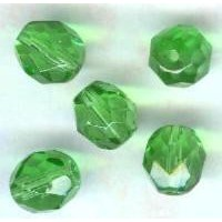 ^Light Emerald Fire Polished Round Faceted Beads 8mm