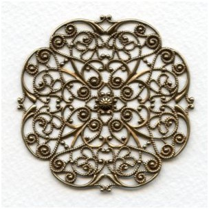 Ornate Flat Filigree 63mm Oxidized Brass (1)