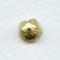 Dots Embossed Bead Caps 8mm Raw Brass