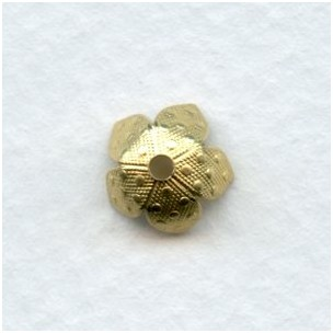 Dots Embossed Bead Caps 8mm Raw Brass (12)