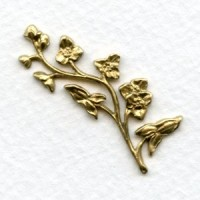 Floral Branch or Border Raw Brass 37mm (2)