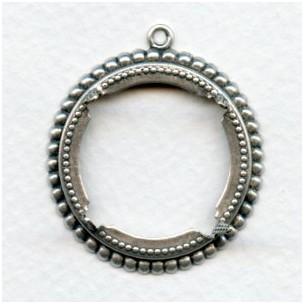 Beaded Detail Open 25mm Settings Oxidized Silver (6)