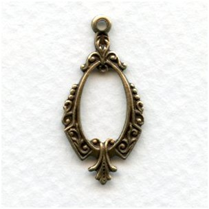 Delicate Pendant Hoops Oxidized Brass 28mm (12)