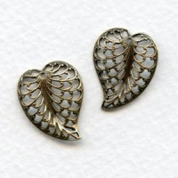 Filigree Leaves with Hole 20mm Oxidized Silver (3 sets)