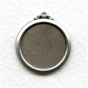 Elegant Simple Setting Pendants 18mm Oxidized Silver (6)