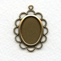 Filigree 18x13mm Settings Oxidized Brass (6)