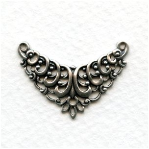 European Filigree Connector 29mm Oxidized Silver (1)