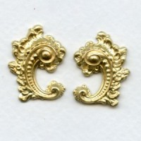 Victorian Details Right Left Flourishes Raw Brass (1 Pair)