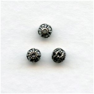 Filigree Round Spacer Beads 4mm Oxidized Silver (24)