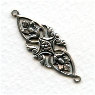 Floral Openwork Connector Oxidized Silver 35mm (6)