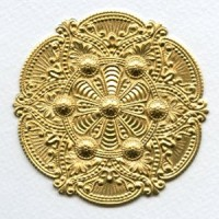 Splendid Gothic Details Raw Brass Medallion 72mm (1)