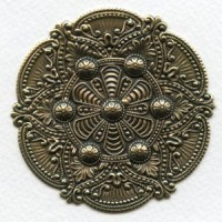 Splendid Gothic Details Oxidized Brass Medallion 72mm (1)