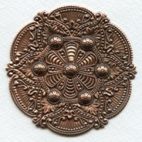 Splendid Gothic Details Oxidized Copper Medallion 72mm (1)