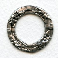 Floral Porthole Settings Oxidized Silver 28.5mm (3)