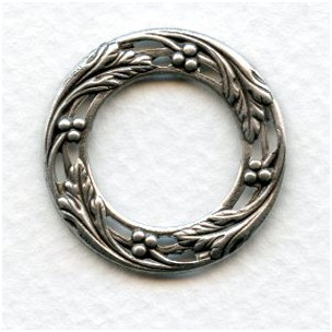 Leaves Berries Porthole Settings Oxidized Silver 27mm (6)