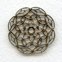 Filigree Small 28mm Round Oxidized Brass Stampings (6)