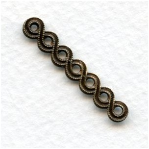 Endless Ribbon Connector Bail Oxidized Brass 32mm (12)