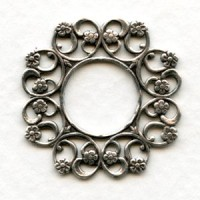 Floral Filigree 28mm Frames Oxidized Silver (6)