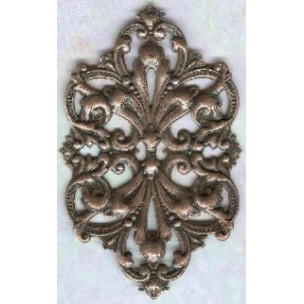 ^Large Oval Openwork Stamping Oxidized Copper