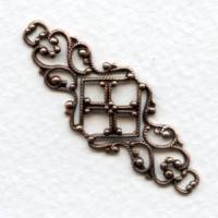 Feminine Filigree Ornate Connector 45mm Copper (6)