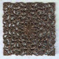 ^Large Ornate Filigree Square Oxidized Copper
