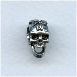 Vertical Hole Skull Focal Bead Oxidized Silver Pewter (1)