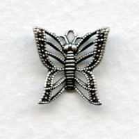Filigree Butterfly Charms Oxidized Silver 13mm (6)