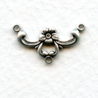 Flower and Ribbon Effect Connector Oxidized Silver (6)