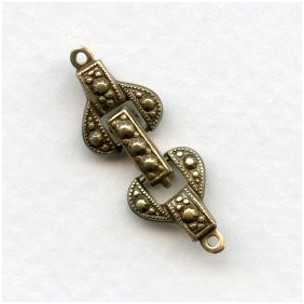 Decorative Single Strand Brass Foldover Clasp with End Tabs (1)