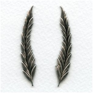 Long Slender Leaves Right and Left Oxidized Silver (1 Set)