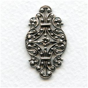 Victorian Style Filigree Oxidized Silver 33mm (6)