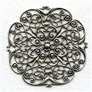 Filigree Ornate Flat 48mm Oxidized Silver (1)
