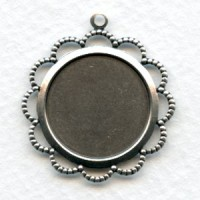 Filigree Edge 18mm Setting Oxidized Silver (6)