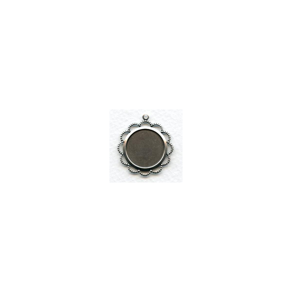 Filigree Edge 18mm Setting Oxidized Silver (6)