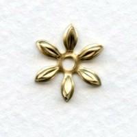 Cut Out Detail Petals Flower Bead Caps Raw Brass (12)