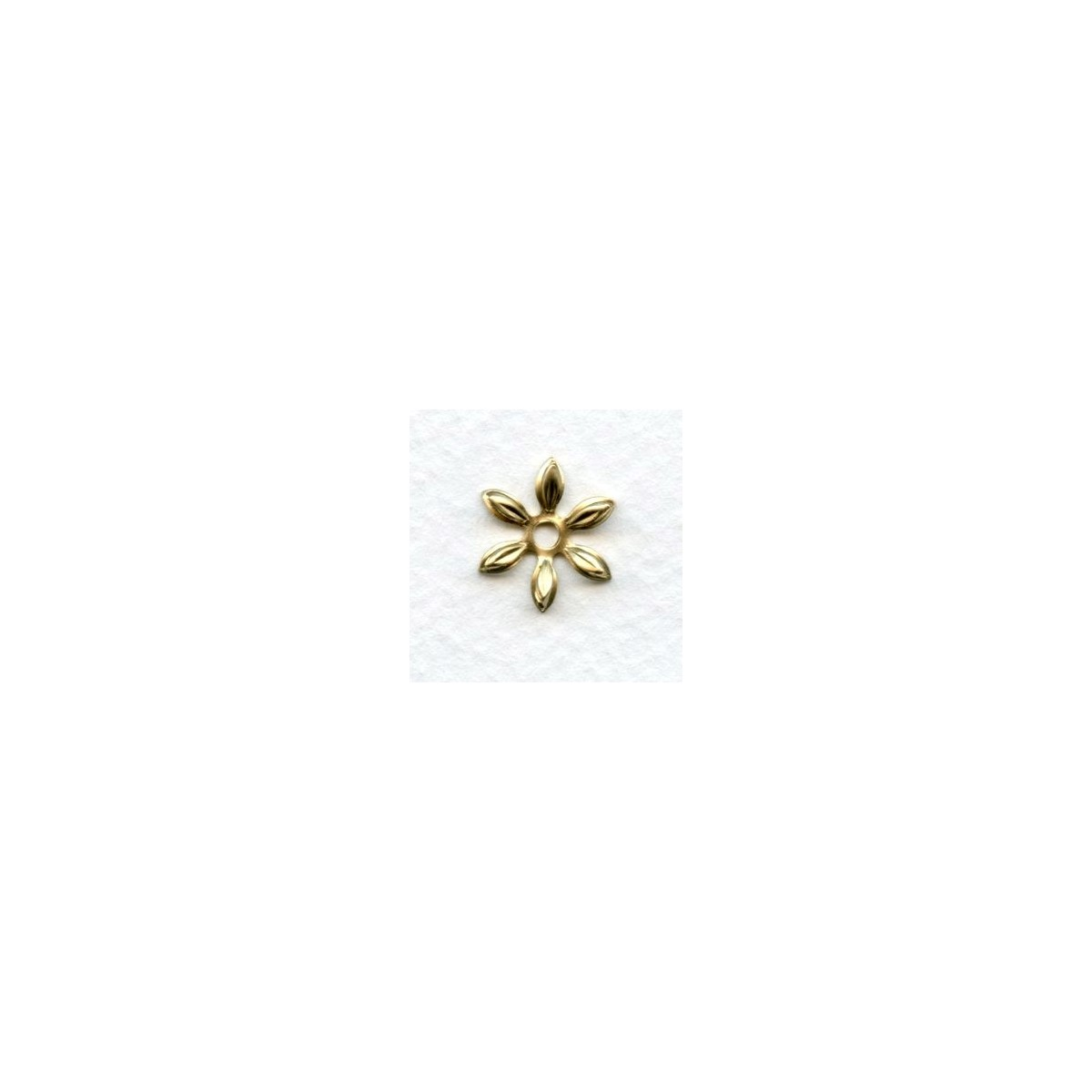 Cut Out Detail Petals Flower Bead Caps Oxidized Brass (12)