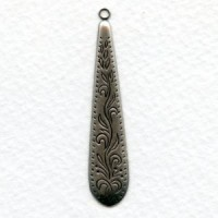 Embossed 48mm Pendants Oxidized Silver (6)