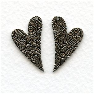 Embossed 26mm Heart Shaped Blanks Right and Left (3 Sets)