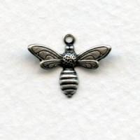 Bee Pendants Oxidized Silver 17mm (12)