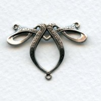 Fancy Ribbon Style 3 Way Connector Oxidized Silver (3)