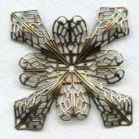Grand Filigree Four Point Stamping Oxidized Brass (1)