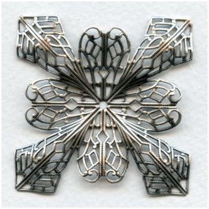 Grand Filigree Four Point Stamping Oxidized Silver (1)