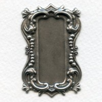 Long Rectangle Shaped Plaques Oxidized Silver 57mm (2)