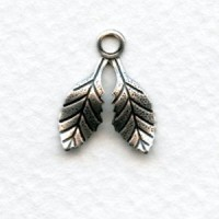 Small Double Leaves with a Loop Oxidized Silver 17mm (12)