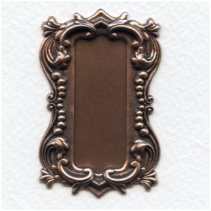 Long Rectangle Shaped Plaques Oxidized Copper 57mm (2)