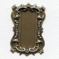 Long Rectangle Shaped Plaques Oxidized Brass 57mm (2)